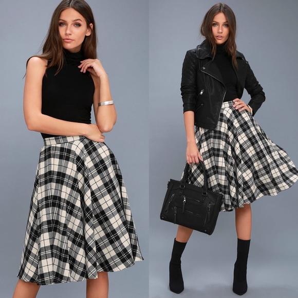 a7c7a95d1d Lulu's Skirts | Bristol Black And White Plaid Flannel Midi Skirt ...